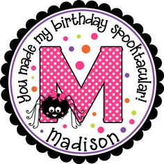 Halloween Polka Dot Monogram.  Shown with a girly spider.  Graphic can be switched out for virtually anything in my birthday or Halloween category!!  All colors are customizable... just check out the color chart.  Personalized stickers by partyINK.