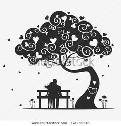 Illustration Magic Tree With A Pair Of Lovers - 141235348 : Shutterstock