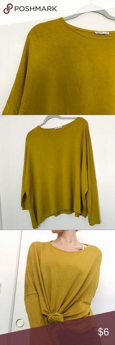 ZARA Mustard Long Sleeve Dolman ✨ Size Medium Zara long sleeve dolman top ✨ tshirt/sweatshirt material ✨ size Medium ✨ can be tucked in, tied, or worn regular Zara Tops