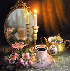 Maria Ilieva is an oil painting artist who was born in Bulgaria. Her floral still life paintings and figurative oil paintings are much appreciated by art lovers. Gifs, Foto Gif, Still Life Photos, Still Life Oil Painting, Animation, Good Morning Good Night, Gif Pictures, Beautiful Candles, Still Life Photography
