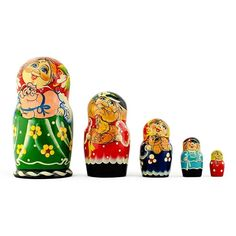 "7"" Set of 5 Farmers Family Russian Nesting Dolls"
