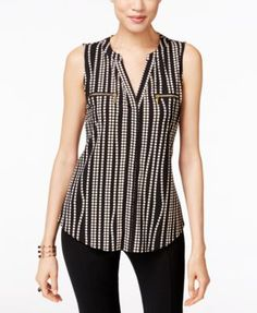 INC International Concepts Printed Zip-Pocket Blouse, Only at Macy's Macys Tops, Neck Designs For Suits, Plus Dresses, Casual Tops For Women, Short Tops, Fashion Pants, Street Style Women, Clothing Patterns, Blouse Designs