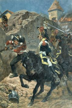 Combat between French Dragoons and British infantry at Hougoumont, Waterloo- by Richard Caton Woodville: Military Art, Military History, Empire, Battle Of Waterloo, Waterloo 1815, Dragons, French Army, Napoleonic Wars, American Civil War