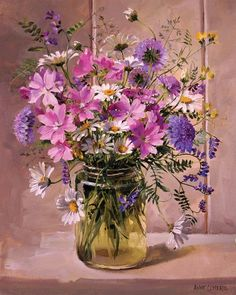 Flower Art Print by Anne Cotterill. Mallows and Other Wild Flowers Arte Floral, Deco Floral, Flower Vases, Flower Art, Purple Flowers, Wild Flowers, Bouquet Champetre, Illustration Art, Illustrations