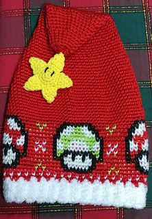 This is the crochet pattern for a Mario mushroom Santa hat!