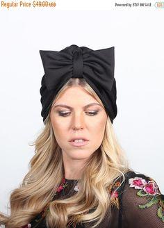 on sale free shipping-turban bow hat, black turban hat, chemo hat, turban with bow, fashion turban, hair turban, turban headwrap, turban hij