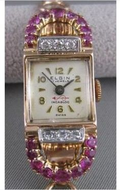 ANTIQUE 1.40CTW OLD MINE CUT DIAMOND RUBY 14KT WHITE ROSE GOLD ELGIN WATCH #2518