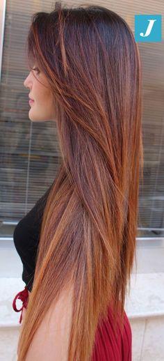 Little Girl Hairstyles : Flawless _ Degradé Joelle # degradé . Pelo Color Cobre, Brown Blonde Hair, Brunette Hair, Auburn Hair, Grunge Hair, Hair Highlights, Balayage Hair, Ombre Hair, Gorgeous Hair