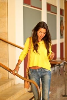 Ok, I don't do the whole belly thing, but I love an oversized yellow shirt with jeans!