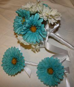 Blue Daisy Boutonniere Daisy Boutonniere by SilkFlowersByJean, $13.00