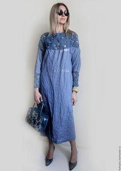 """Купить Платье из льна """"Стелла"""" - голубой, однотонный, джинсовый, цвет джинс, платье бохо"""