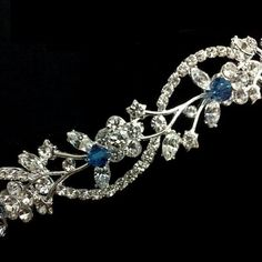 tiara's with blue for weddings | something_blue_bridal_tiara_vine_twirl_swarovski_crystal_wedding ...