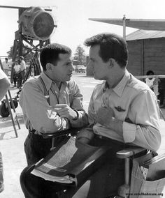 Robert Clary and Bob Crane between scenes...