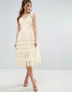 Chi Chi London Midi Dress In Paneled Lace | Long Skater Dresses | Occasion Dresses