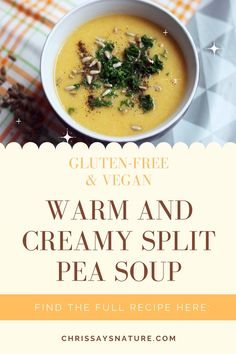 You can serve this soup with toasted bread, crackers, or just eat it by itself. This creamy yellow split pea soup is perfect for gloomy days and cozy evenings. Also, don't forget about herbs! They will make your soup 100% better! #soup #cozy #warm #recipe #glutenfree