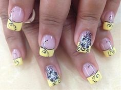 black and yellow nail designs