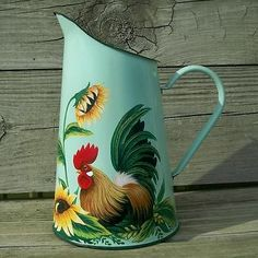 Old Mint Green Enamel Pitcher HP Country Rooster Art Sunflowers Vase T McMurry | eBay
