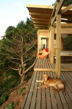 500 sqft house; deck separates bedroom/bath from kitchen/dining/living room http://tinyhousetalk.com/cliff-top-small-house/