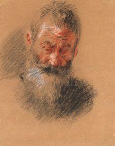 Antoine Watteau | 1684-1721 | Head of an Old Bearded Man | The Morgan Library & Museum