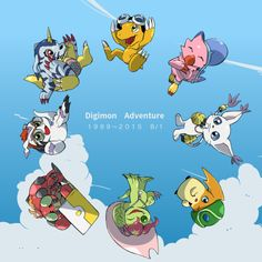 Digimon with their Digidestined items