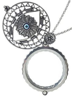 Evil Eye 4x Magnifier Magnifying Glass Sliding Top Magnet Pendant Necklace, 30 by Artisan Owl -- Awesome products selected by Anna Churchill