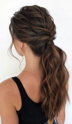 20 gorgeous wedding hairstyles for the elegant bride 2019 14 - une femme du monde - Frisur Ideen Cute Ponytail Hairstyles, Cute Ponytails, High Ponytails, Bride Hairstyles, Easy Hairstyles, Gorgeous Hairstyles, Bangs Hairstyle, Hairstyle Ideas, Hair Ideas