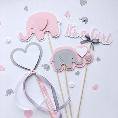 Conjunto de 4pcs Pink Grey Elephant centerpieces niña bebé   Etsy