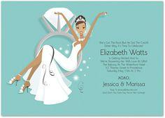 African American Bridal Shower Invitations, Swinging Ring Bride Blue-Green African-American, 32090