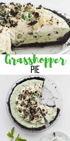 This easy Grasshopper Pie recipe is a simple, no bake dessert for Christmas or any time! It's made with a few simple ingredients, make ahead and freezer friendly! The Christmas dessert recipe that… Easy Pie Recipes, Best Dessert Recipes, No Bake Desserts, Easy Desserts, Delicious Desserts, Snacks Recipes, Elegant Desserts, Freezer Desserts, Make Ahead Desserts