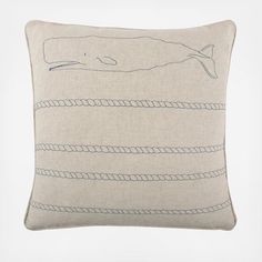 Scrimshaw is an art-form historically practiced by whalers who would incise elaborate scenes into whale bone. Thomas Paul's Scrimshaw Collection captures this aesthetic. This Whale Scrimshaw Flax Pillow is made from a flax and cotton blend that is sturdy, yet soft to the touch. The pillow has piped edges and intricate embroidered detail. Each pillow in the Scrimshaw Collection features a different nautical design for easy mixing and matching.