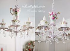 Custom tea cup chandelier for a long time client's new home
