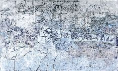 """Mark Bradford, """"Silver and Blue"""" (2012). Mixed media collage on canvas, 120 x 199 inches."""