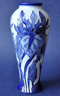 Moorcroft Pottery Windrush Blue on Blue 122/8 Debbie Hancock http://www.bwthornton.co.uk/moorcroft.php