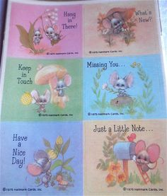 Vintage Hallmark Mod Mouse and Mushroom Stickers - A Sealed Package of 24. $18.00, via Etsy.