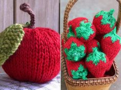 Celebrate the summer with these Fruity Knits because they`re fun and easy to make. You can place them as a table decoration so think about a whole basket Easy Crochet Patterns, Knitting Patterns Free, Free Knitting, Free Pattern, Crochet Food, Knit Or Crochet, Free Crochet, Knit Dishcloth, Knitted Dolls