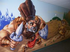 Worlds of Wow - our artists drew an illustrated Bible story of just how big Goliath was compared to David the shepherd boy in a hallway at First Baptist Church of Humble, TX.