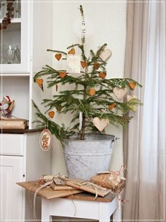 Simple little christmas tree with cinnamon hearts