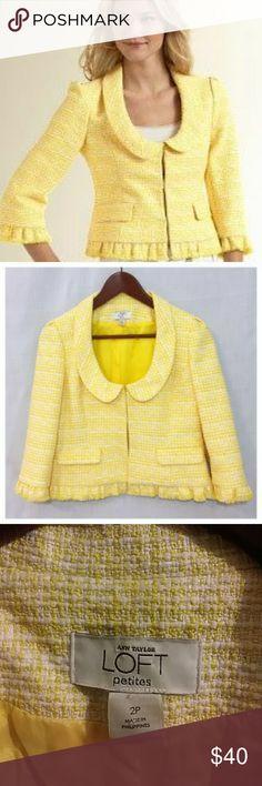 Ann Taylor Loft Yellow Tweed Bottom Fringe Jacket Blazer is NWOT . Ann Taylor Jackets & Coats Blazers
