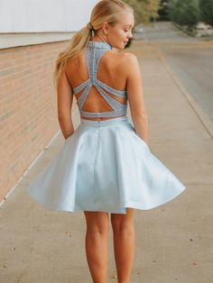 09fa6e192d Two Pieces Halter Sleeveless Backless Blue Short Homecoming Dresses