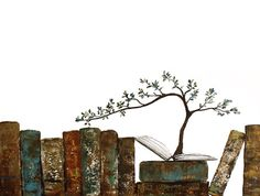 Tree growing from book wall art by ContemporaryEarthArt on Etsy
