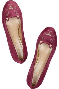 Charlotte Olympia | Kitty embroidered calf hair loafers | NET-A-PORTER.COM £484 yikesssss