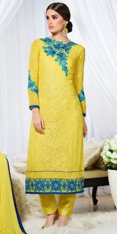Pleasing Yellow Bhangalpuri Silk Straight Suit With Dupatta.