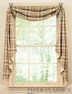 Love this style. Fishtail Swag Curtains. Click on photo for hangers.