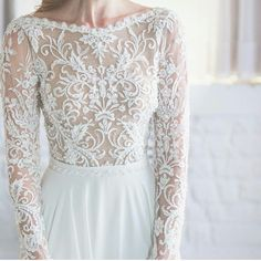 modest wedding dress with long sleeves and a flowing skirt from alta moda. -- (modest bridal gown).