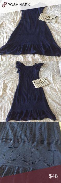 Never worn! Lilly Pulitzer Harmony Dress - size S Tags removed but never worn!  Lilly Pulitzer Harmony sweater dress in navy anchors.  Gorgeous detailing throughout with ruffled cap sleeves and ruffled hemline.  Perfect for summer, spring, and fall. Lilly Pulitzer Dresses