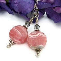 Pink Rhodochrosite Swarovski Earrings Handmade Summer OOAK Gemstone   ShadowDogDesigns - Jewelry on ArtFire