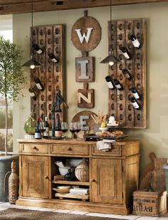 Have Rusty DIY his pottery barn shelves and hang wine glasses over ...