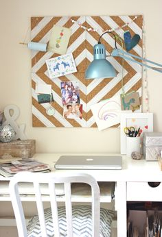 Vintage Give your space a pop of organization by making a painted cork tile bulletin board