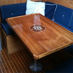 Teak table with rose inlay Boat Table, Boat Furniture, Sailboat Interior, Trim Work, Furniture Manufacturers, Decoration, Woodworking, Home Decor, Boat Restoration