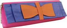 $16.50  12 inches x 4 inches x 1.5 inches    Roomy clutch dressed with a bow!